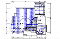 House plan view of roof projection detail dwg file