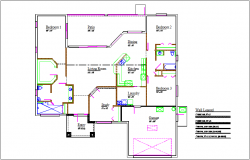 House plan view with wall legend dwg file
