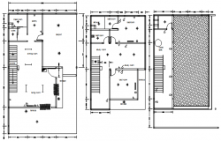 House plan with detail dimension in dwg file