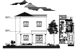 House plan with elevation details in dwg file