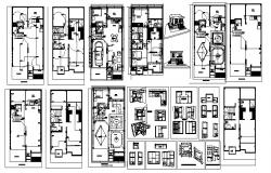 House plan with furniture detail in dwg file