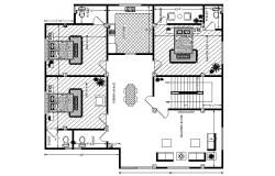 House plan with furniture details in dwg file