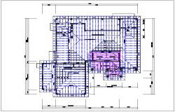 House roof plan view, foundations of column plan layout detail dwg file