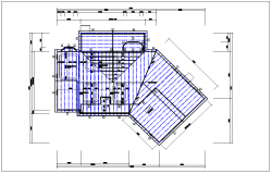 House roof plan view, foundations of column plan layout dwg file