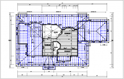House roof plan with foundation plan layout view in  detail dwg file