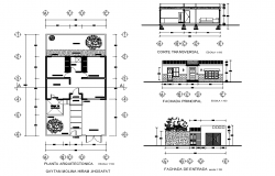 House room plan layout file, plan, elevation and section plan detail
