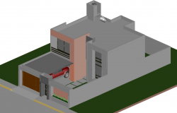 House room with vehicle detail dwg file