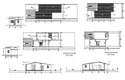 House section, cover plan and sanitary installation details dwg file