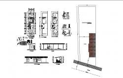 House section, plan, electrical layout and sanitary installation details dwg file