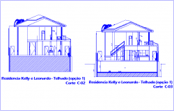 House sectional elevation view dwg file