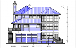 House side elevation view detail dwg file