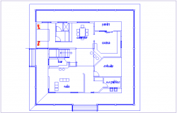 House simple plan with architectural view dwg file