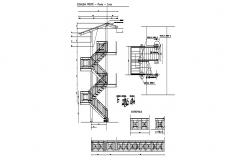 House stairways section, plan and constructive structure details dwg file