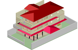 House three levels 3 D plan detail dwg file