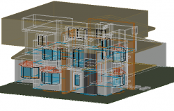House two levels 3 D plan detail dwg file