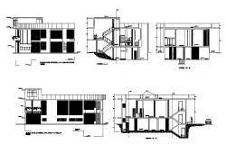House two story elevation and section cad drawing details dwg file