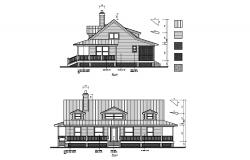 House with elevation in dwg file