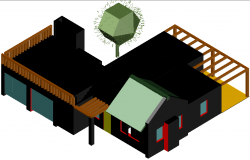 House with terrace in 3 D plan detail dwg file