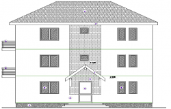 Housing 2 Levels Architecture Plan and Elevation dwg file