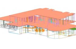Housing 2 levels in 3 d plan detail dwg file
