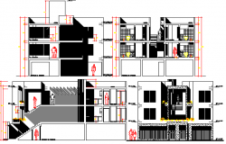 Housing Building Project Elevation and Section Plan dwg file