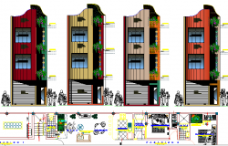 Housing Commerce Building Elevation dwg file