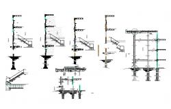 Housing apartment building constructive section details with staircase dwg file