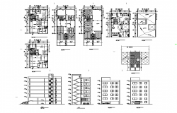 Housing apartment building structure detail plan, elevation and section 2d view layout dwg file