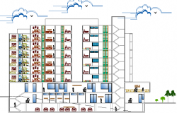 Housing apartment building with commercial sectional details dwg file