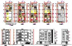 Housing building 4 levels design drawing