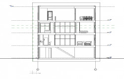 Housing building elevation 2d view layout dwg file