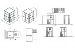Housing building isometric elevation and section details dwg file