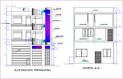 Housing elevation and section view dwg file