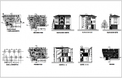 Housing floor plan and section view dwg file
