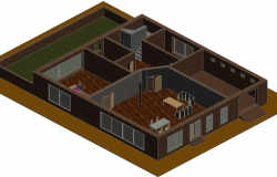 Housing ground floor 3 d plan detail dwg file