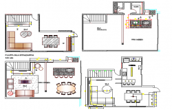 Housing layout plan details in four section dwg file