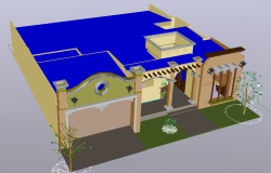 Housing one level-colonial type 3d view dwg file