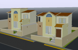 Housing paired 3 D plan detail dwg file