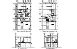 Housing plan and elevation detail dwg file