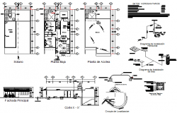 Housing plan and section detail dwg file