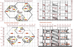Housing plan with elevation, section and structure details dwg file