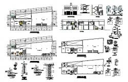 Housing plus commercial building floor plan and structure details dwg file