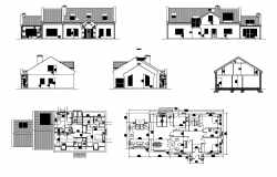 Housing structure building detail elevation and plan layout dwg file