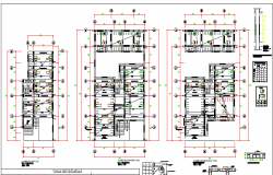 Housing two levels with basement floor plan details dwg file