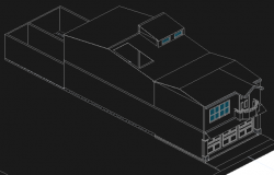 Housing two plants in 3 d detail dwg file