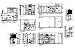 Huge kitchen all sided section and plan cad drawing details dwg file