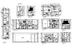 Huge kitchen section, plan and auto-cad details dwg file