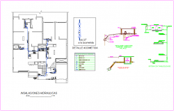 Hydraulic design view of housing area with detail dwg file
