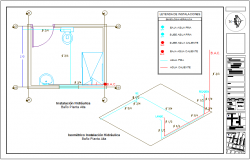 Hydraulic installation plan with its legend and isometric view dwg file