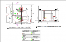 Hydraulic installation with pipe line view with its legend dwg file